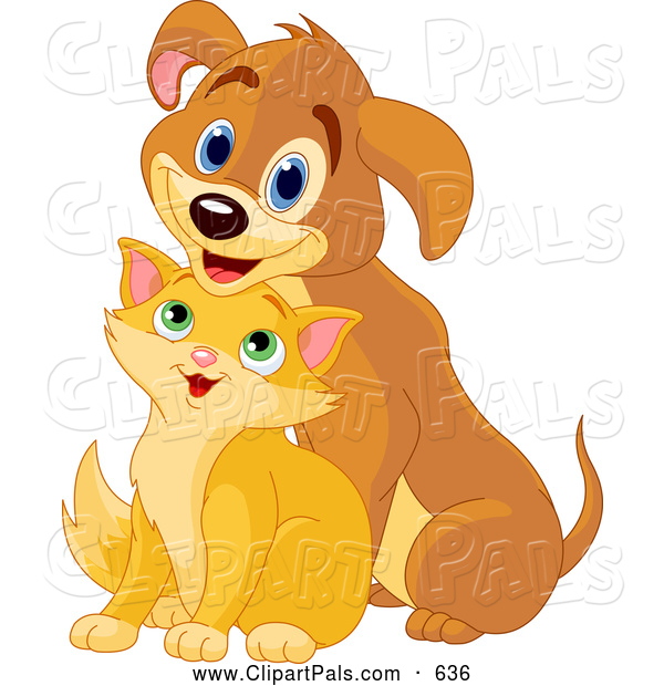 Pal Clipart of a Cheerful Puppy with a Short Kitty