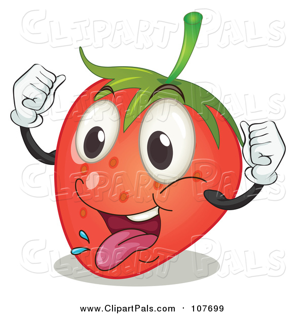 Pal Clipart of a Cheering Excited Strawberry