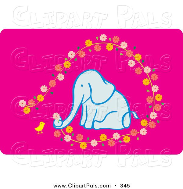 Pal Clipart of a Chick and Elephant Picking Flowers on Pink