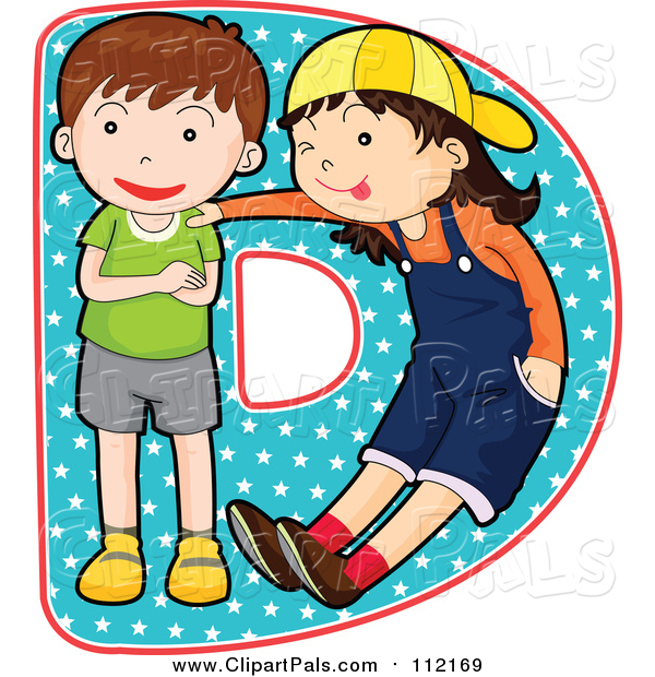 Pal Clipart of a Children Posing on the Letter D