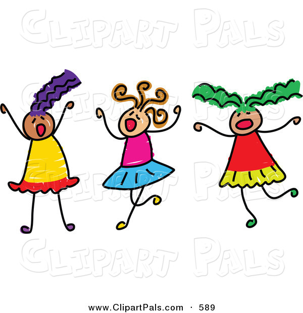 Pal Clipart of a Childs Sketch of Three Girls Playing Together at a Sleepover