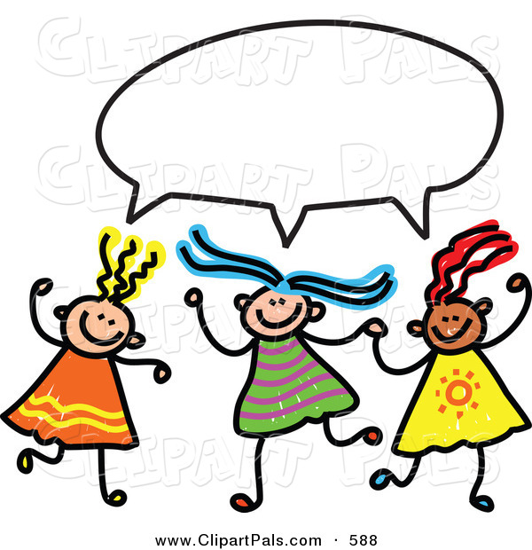 Pal Clipart of a Childs Sketch of Three Girls with a Word Balloon Overhead