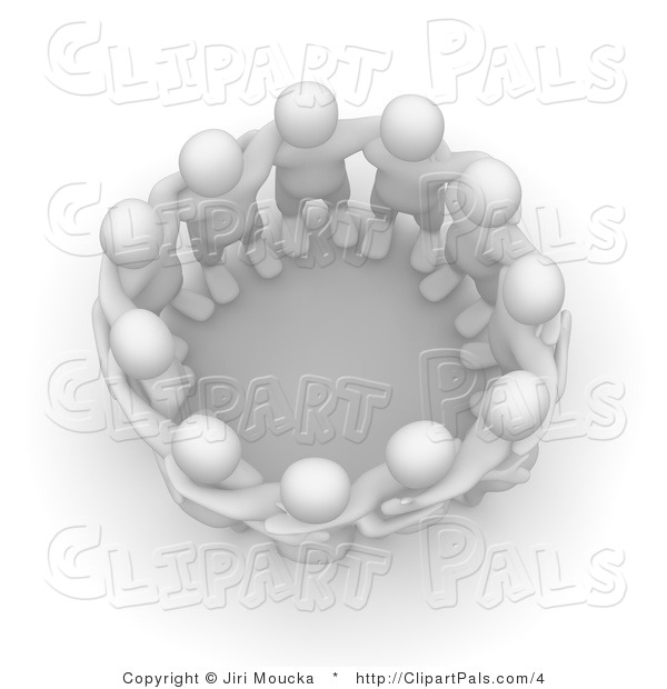 Pal Clipart of a Circle of 3d Blanco Men Huddled