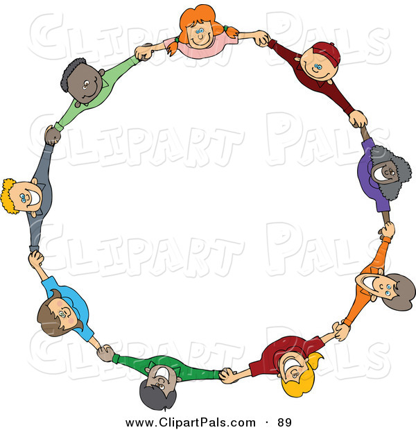Pal Clipart of a Circle of Diverse Happy Cartoon Children Holding Hands and Looking up on White