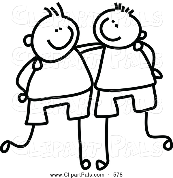 Pal Clipart of a Coloring Page Childs Sketch of Black and White Boys with Their Arms Around Each Other
