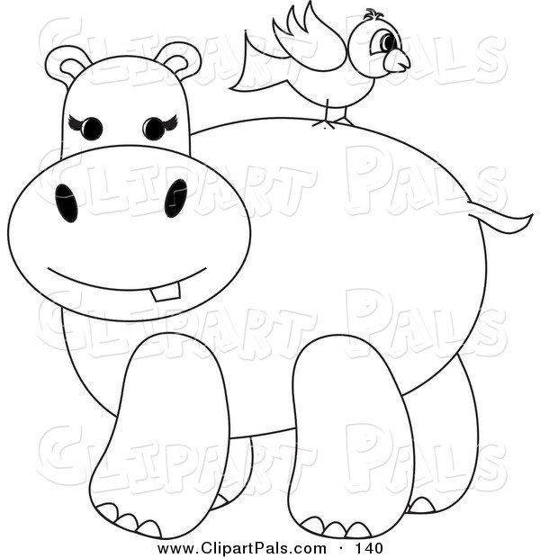 Pal Clipart of a Coloring Page Outline Design of a Bird on a Hippo's Back