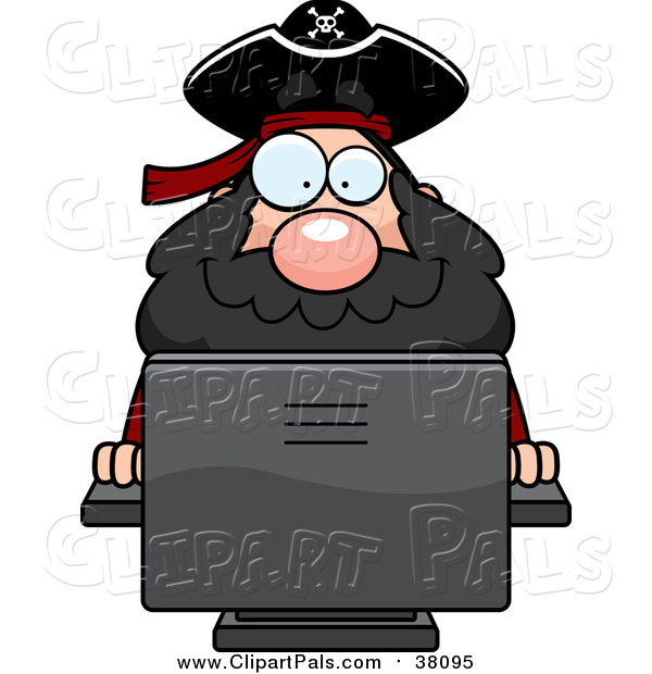 Pal Clipart of a Computer Pirate - Cartoon Style