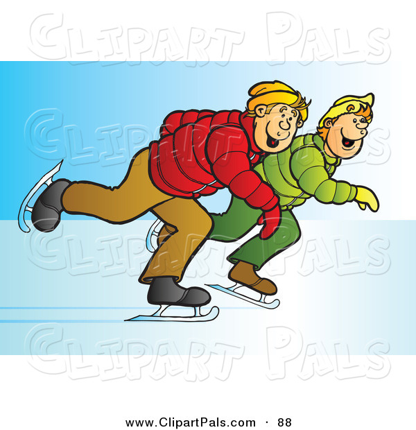 Pal Clipart of a Couple of Blond Teenage Boys Ice Skating Together