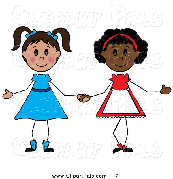 Pal Clipart of a Couple of Diverse Girls Holding Hands
