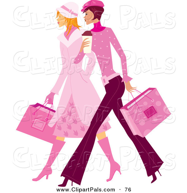 Pal Clipart of a Couple of Stylish Ladies in Pink, Walking and Carrying Shopping Bags