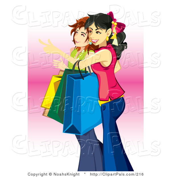 Pal Clipart of a Couple of Young Teenage Caucasian Girls Carrying Bags and Shopping