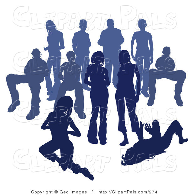 Pal Clipart of a Crowd of Blue Silhouetted People on White