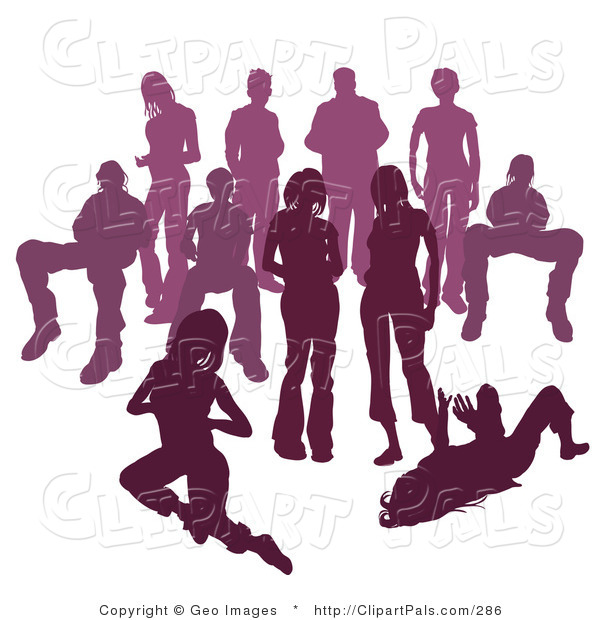 Pal Clipart of a Crowd of Purple Silhouetted People Standing Together