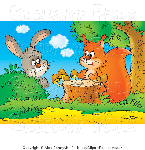 Pal Clipart of a Curious Gray Bunny Rabbit Behind a Bush, Watching a Squirrel by a Tree Stump with Mushrooms