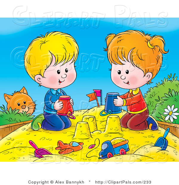 Pal Clipart of a Curious Orange Cat Watching a Boy and Girl Making Sand Castles with Buckets in a Sand Box