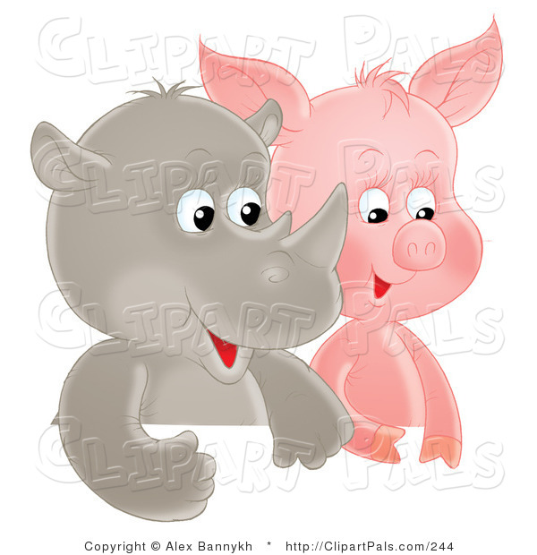 Pal Clipart of a Cute Baby Rhino and Pig Side by Side