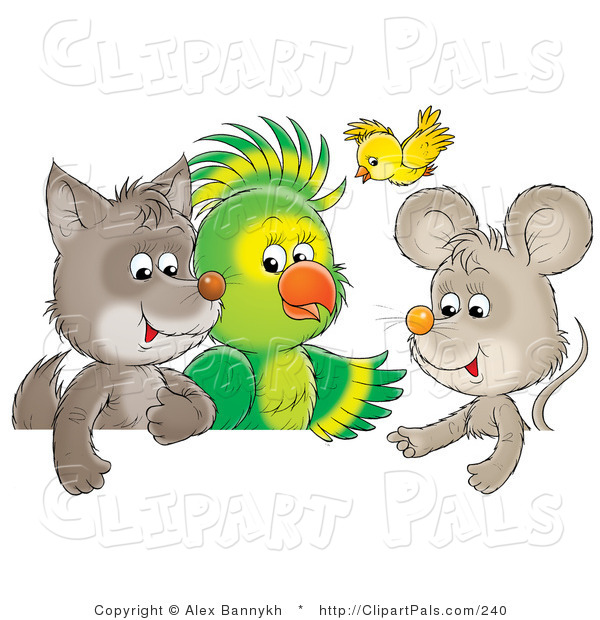 Pal Clipart of a Cute Baby Wolf, Parrot, Yellow Bird and Mouse Talking As Friends
