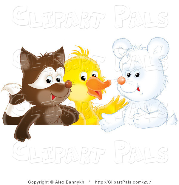 Pal Clipart of a Cute Badger, Duck and White Bear Cub Playing Together