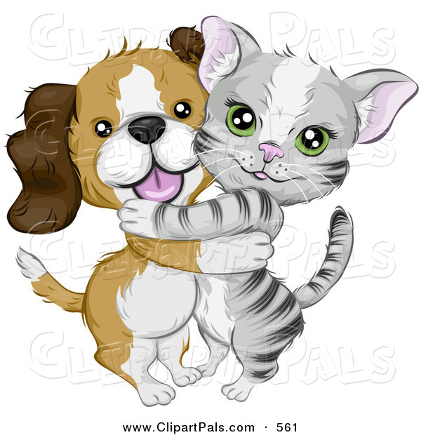 Pal Clipart of a Cute Beagle Puppy Hugging a Little Gray Kitten