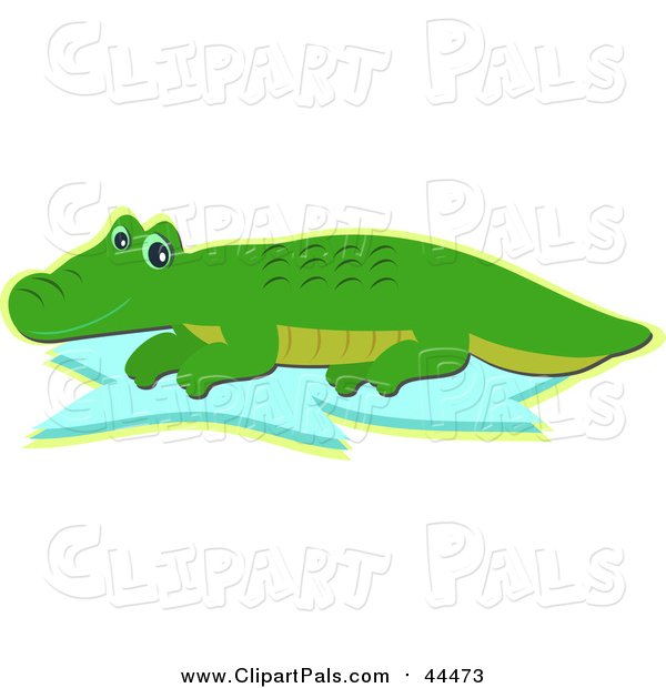 Pal Clipart of a Cute Happy Alligator