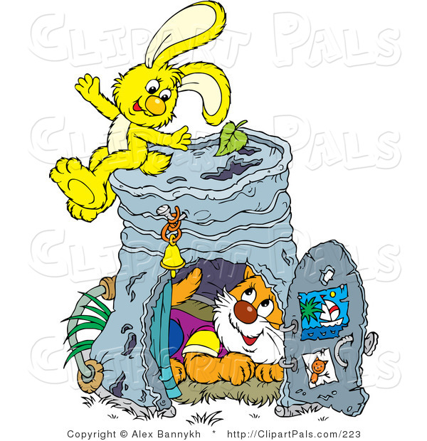 Pal Clipart of a Cute Kitty Inside a Pail Club House, a Yellow Bunny Sitting on Top