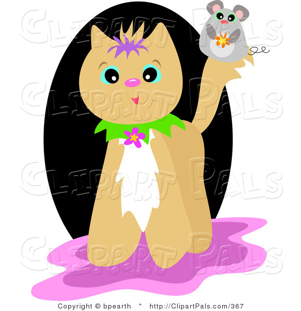 Pal Clipart of a Cute Mouse on a Tan Cat's Tail, over a Black, Pink and White Background