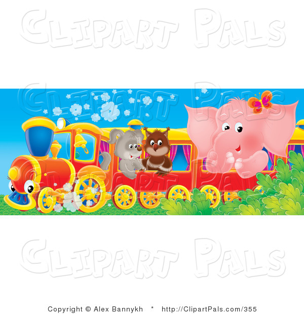 Pal Clipart of a Cute Pink Elephant, Owl and Puppy Riding on a Red Train