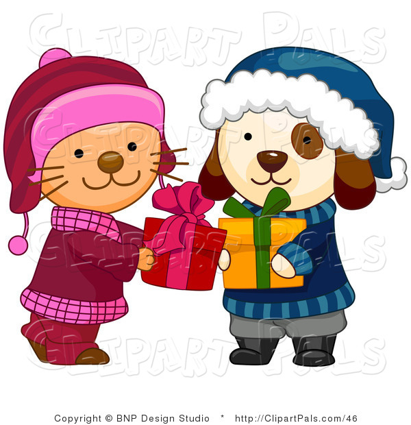 Pal Clipart of a Cute Puppy and Kitten in Winter Clothes Exchanging Christmas Presents