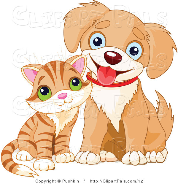 Pal Clipart of a Cute Striped Kitten and Happy Puppy
