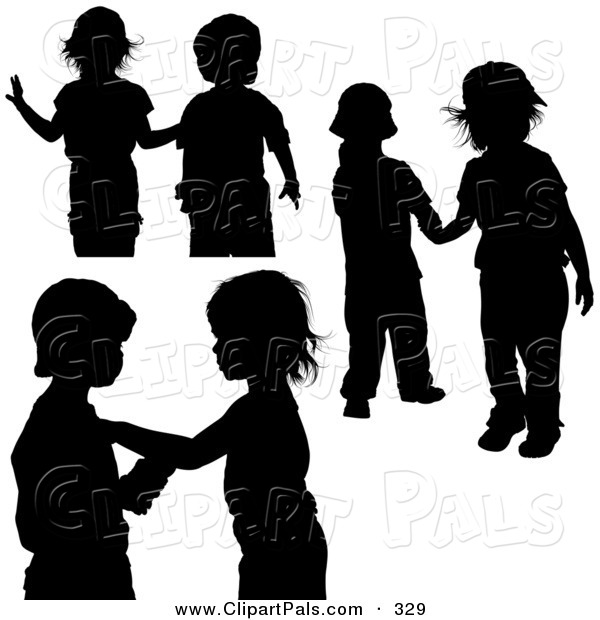 Pal Clipart of a Digital Collage of Couples of Black Silhouetted Children Playing Together