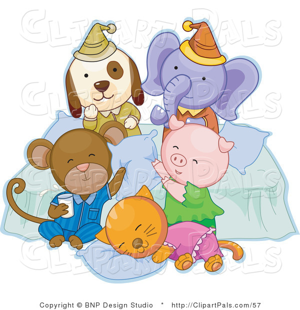 Pal Clipart of a Dog, Elephant, Monkey, Pig and Cat Having Fun and Cuddling at a Slumber Party