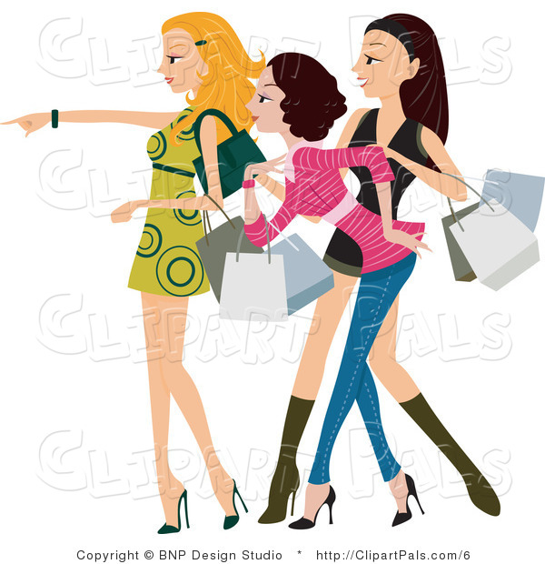 Pal Clipart of a Fashionable Young Window Shopping Women Looking and Pointing