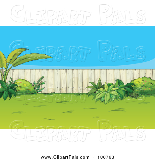 Pal Clipart of a Fenced Back Yard with Plants
