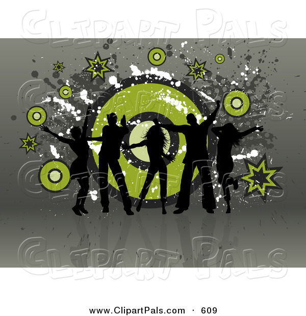 Pal Clipart of a Five Black Silhouetted Dancers over a Grungy Green and Gray Swirling Background
