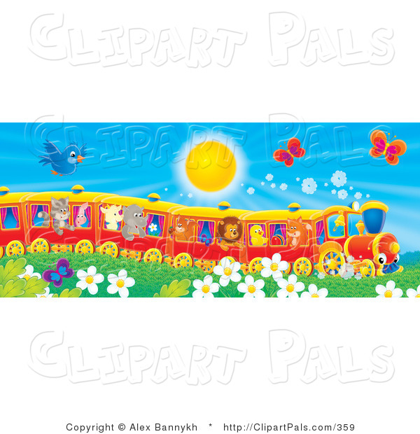 Pal Clipart of a Flying Blue Bird and Butterflies Hoovering over Flowers near a Cat, Pig, Goat, Rhino, Squirrel, Lion, Chick and Fox on a Train on a Sunny Day