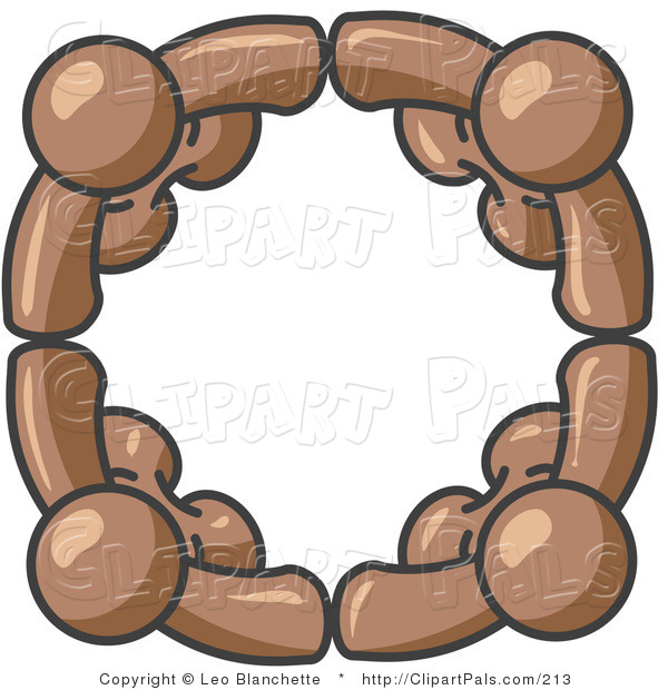 Pal Clipart of a Four Brown People Standing in a Circle and Grasping Hands for Teamwork and Unity