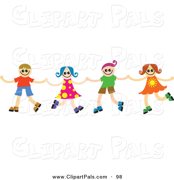 Pal Clipart of a Four Happy Kids Holding Hands and Dancing in a Line