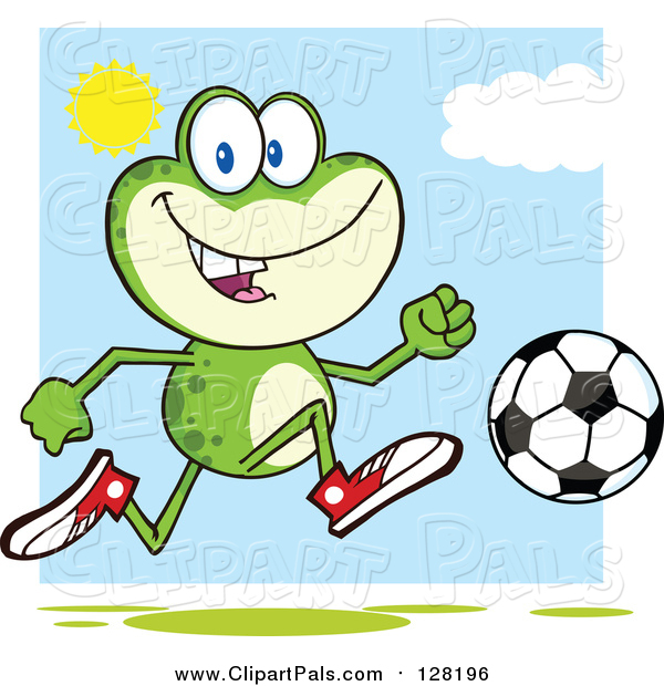 Pal Clipart of a Frog Playing Soccer on a Sunny Day