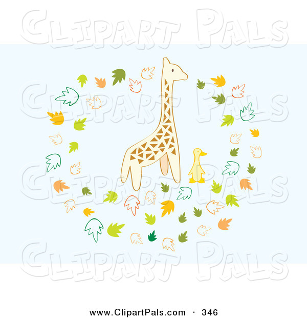 Pal Clipart of a Giraffe and Duck Surrounded by Leaves on Blue
