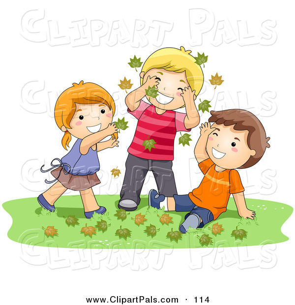 Pal Clipart of a Girl and Two Boys Playing in Autumn Leaves on the Grass