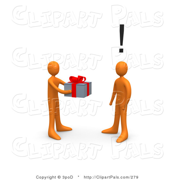 Pal Clipart of a Giving Orange Person Handing a Present to an Unsuspecting Person