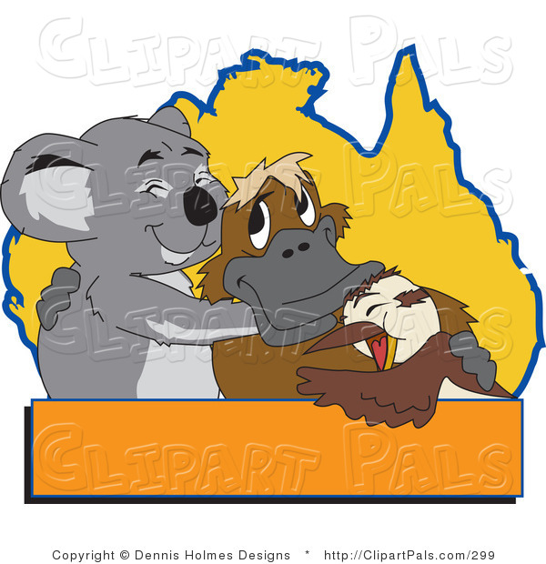 Pal Clipart of a Gray Koala, Platypus and Bird Hugging in Front of an Australian Map, with a Blank Orange Text Box