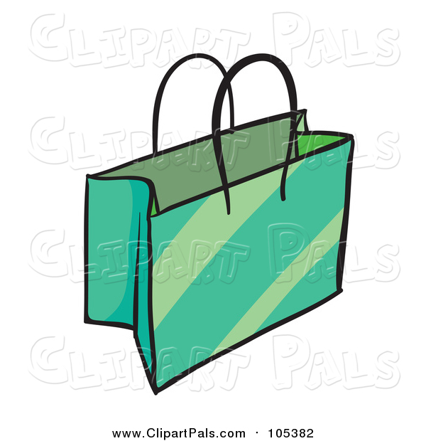Pal Clipart of a Green Shopping or Gift Bag