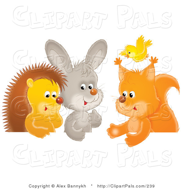 Pal Clipart of a Group of Animals, a Yellow Bird Flying over a Squirrel, Rabbit and Hedgehog Chatting at a Table