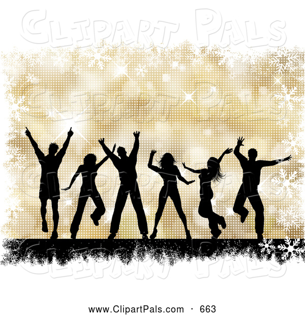 Pal Clipart of a Group of Black Silhouetted Dancing People over a Gold Halftone Christmas Background with Grunge and Snowflakes