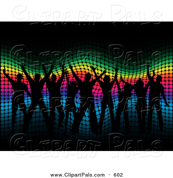 Pal Clipart of a Group of Black Silhouetted People Dancing over a Wavy Halftone Rainbow Background