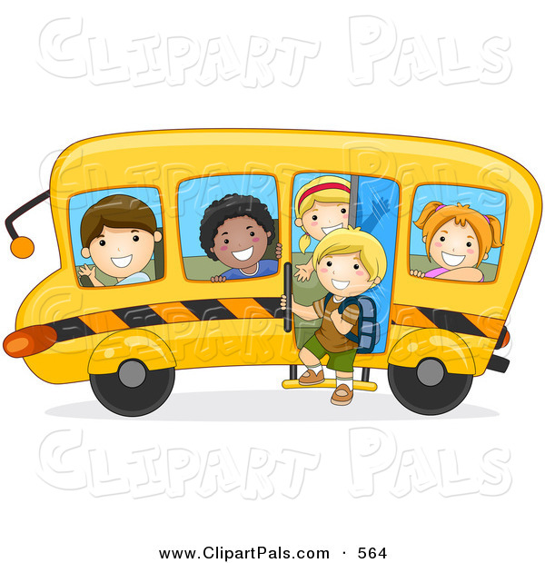 Pal Clipart of a Group of Diverse School Kids on a Bus Driving to the Left