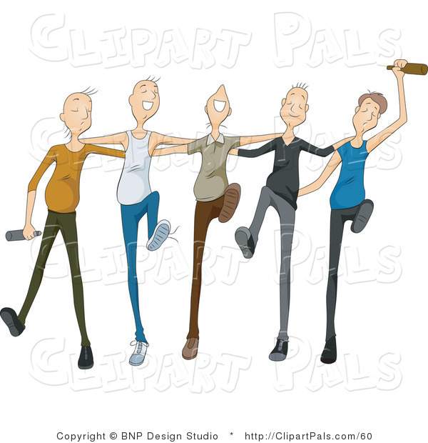 Pal Clipart of a Group of Drunk Young Men Drinking and Dancing in a Line