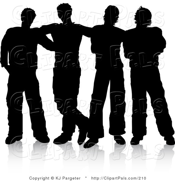 Pal Clipart of a Group of Four Men Standing Together, Silhouetted over White