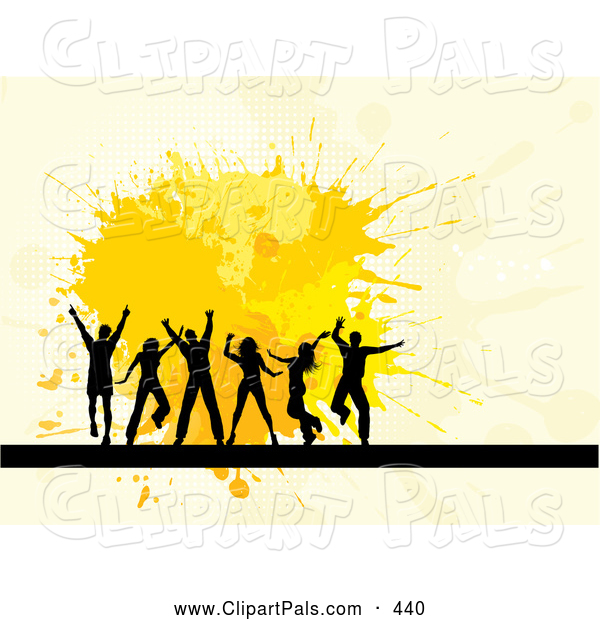 Pal Clipart of a Group of Happy Silhouetted Dancers over Yellow Splatters on Beige